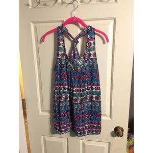 Tops - Paisley print blue and purple tank top
